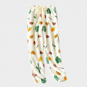 Mystical White Flannel Pajama Fruit Pants Drawstring Skinny Girl