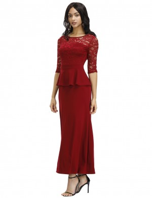 Flowery Wine Red Elastic Lace Hollow Out Solid Color Evening Dress