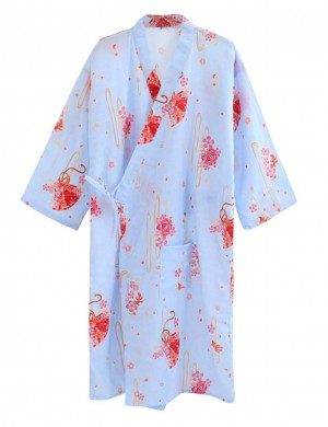 Daring Blue V-Neck Print Bath Robe Tie Front Pocket Classic Fit