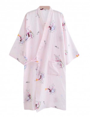 Inexpensive Pink Print V Neck Bathing Robe Side Tie Online