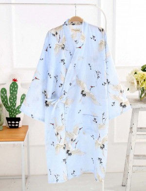 Convertible Blue Tie Printed Bathrobes Front Pocket Slim Fitting