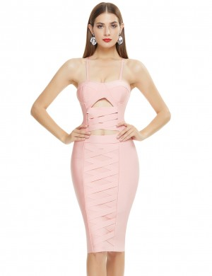 Pink Women Plus Size High Waist Lace Bandage Dress Feminine Fashion