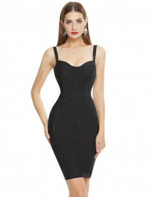 Body Hugging Black Open Back Solid Color Bandage Dress For Banquet