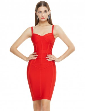 Remarkable Red Zipper Bandage Dress Mini Length Feminine Charm