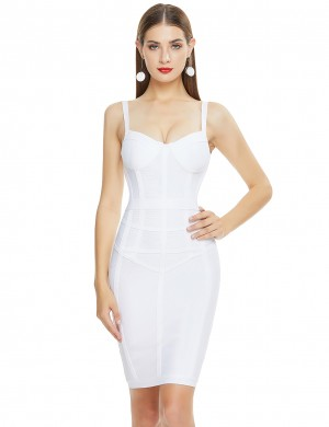 Dreamlike White Bandage Dress Slender Strap Zip At Back For Female