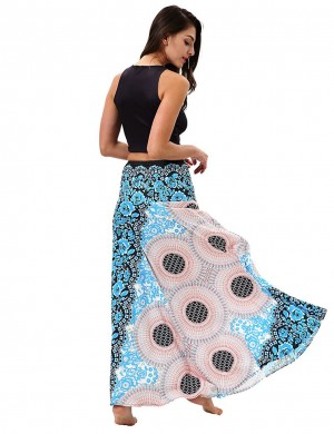Spectacular Retro Blue Circle Two Ways Wearing Swing Skirt For Playing