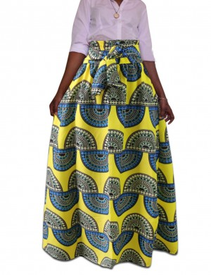 African Print Pleated Skirt Ankle Length High Waist Online Sale Girls