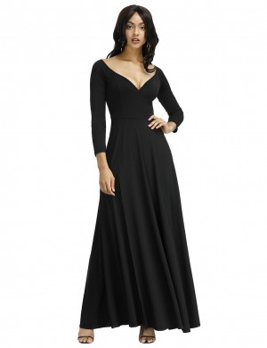 Black High Waist V-Neck Knitted Full Evening Dress Feminine Confidence
