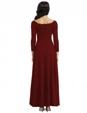 Wine Red High Waist V-Neck Knitted Full Evening Dress Feminine Confidence