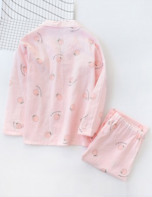 Ultra Cheap Two Pieces Peach Pattern Full Sleeve Pajama Online Cheap