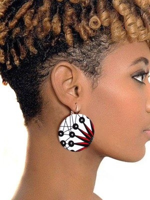 Mix Color African Fashio Colorful Buttom Earring