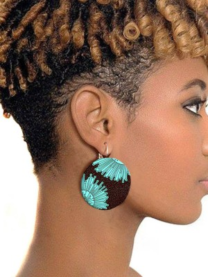 African Style Round Buttom Earring Colorful Fashion