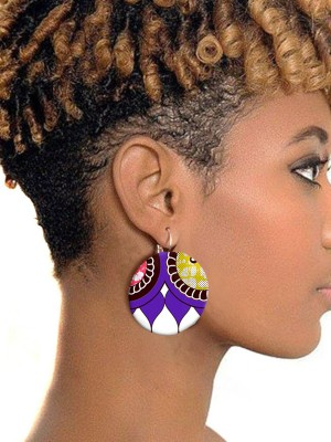 African Style Batik Cloth Round Button Print Earrings