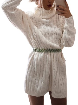 Extra Sexy White Knit Solid Color High Neck Sweater Dress Casual Wear