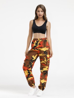 Graceful Camouflage Print Elastic Waist Pants Casual Fashion
