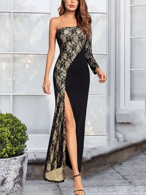 Fabulous Fit Black High Slit Evening Dress Lace Patchwork Outdoor