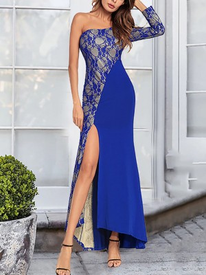 Elegance Blue One Shoulder High-Low Hem Evening Dress High Elasticity