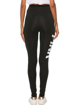 Vigorous Black Letter Pattern Leggings High Rise Classic Clothing