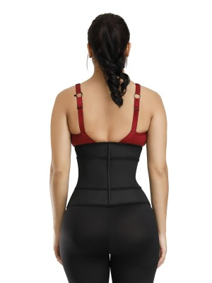 Desirable Designed Black 3 Rows Hooks Waist Cincher Belt Sticker Correct Posture