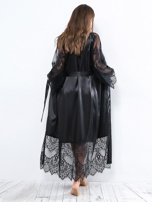 Intrigued Black Lace Patchwork Nightgown Waist Tie Super Faddish