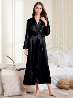 Likable Black Waist Knot Full Sleeve Maxi Bedgown Beautiful Addition