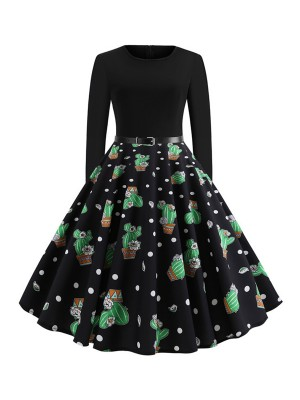 Ethereal Skater Dress Swing Hem Full Sleeves Women's Essentials