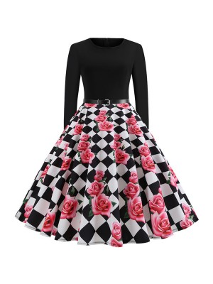 Retro Long Sleeves Skater Dress Back Zipper Casual Women Dress