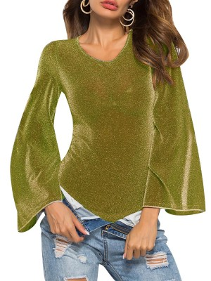 Seductive Gold Crew Neck Bodysuit High Cut Glitter Smooth