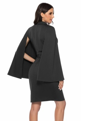 Vibrant Black Cape Sleeve Deep V Neck Evening Dress Understated Design