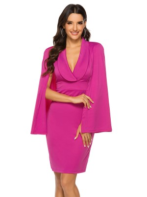 Delightful Rose Red Solid Color Deep V Neck Evening Dress For Women