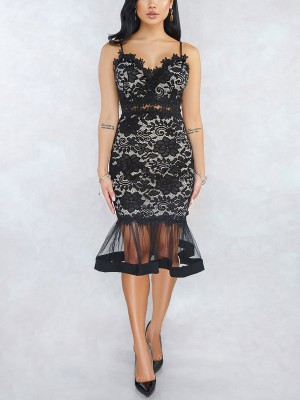 Frisky Black Lace Sling Evening Dress Back Zipper Eye Catcher