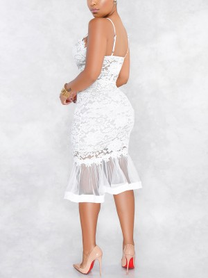 Striking White Fishtail Hem Evening Dress Slender Strap Natural Fashion