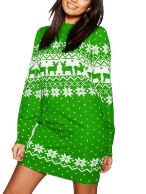 Lively Green Chiristmas Print Sweater Dress Round Collar Delightful Garment
