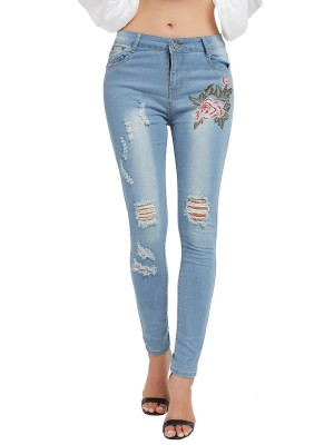 Invigorative Light Blue Flower Pattern Ripped Jeans Pockets Womens Clothes