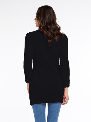 Fantasy Black Full Sleeve Sweater Dress High Collar Quality Assured