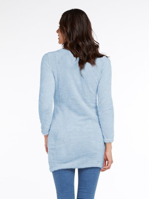 Unique Blue Mini Length Sweater Dress Long Sleeve All-Match Style