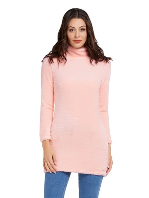Causal Pink Sweater Dress Thigh-Length Solid Color Comfort Women