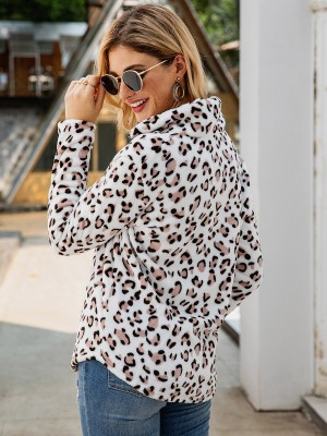 Dainty White Zipper Leopard Sweatshirt Turndown Neck Women Outfits