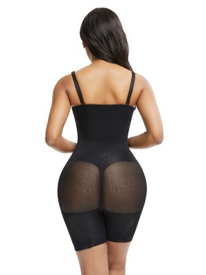 Two-Timing Black Mesh Full Body Shaper Solid Color Big Size Super Sexy