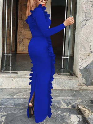 Trendy Blue Back Split Evening Dress Long-Sleeved Regular Fit