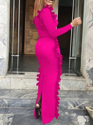 Leisure Rose Red Split Full Sleeve Plain Evening Dress Wholesale