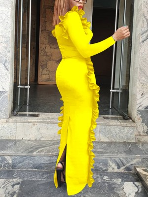 Favorite Yellow Ruffle-Trim Evening Dress Long Sleeves For Streetshots