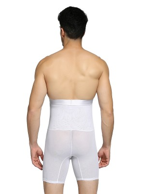 Elegant White Men High Rise Booty Lifter 2 Boned Body Shapewear