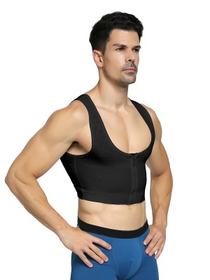 Perforated Black Zipper Mens Cropped Top Shaper Mesh Firm Foundations