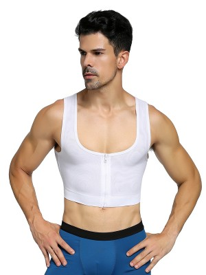 Enhancer White Mens Cropped Shapewear Cross Mesh Firm Foundations