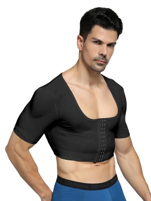 Stretchy Black Man Cropped Shapewear 3 Rows Hooks Back Support