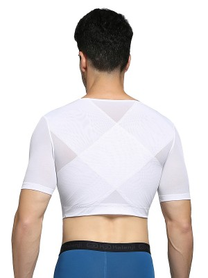 Comfort Revolution White Short Sleeves Man Shaper Crop Top Compression