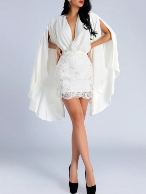 Slender White 2 Pieces Cape Sleeves Top Lace Skirt Leisure Time