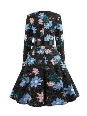 Dainty Skater Dress Floral Pattern Zipper Forward Women