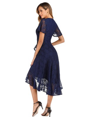 Retro Dark Blue High-Low Hem Ruffled Evening Dress Great Quality